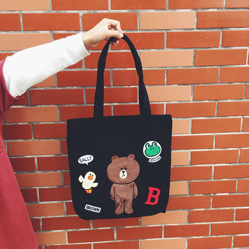 韓國代購 Line&fri*ends家布朗熊帆布包單肩包女包休閑環保購物袋