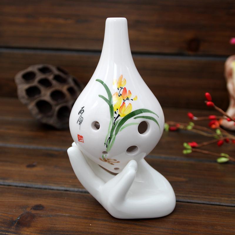 陶瓷手托鸡蛋托白色配件 孔陶笛通用手托摆件 12 孔陶笛 6 陶笛底座