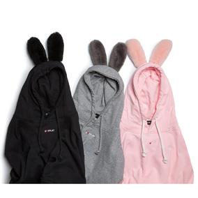 郑恺DUEPLAY EVERUGG 兔耳朵情侣连帽宽松织带长袖男女卫衣套头衫