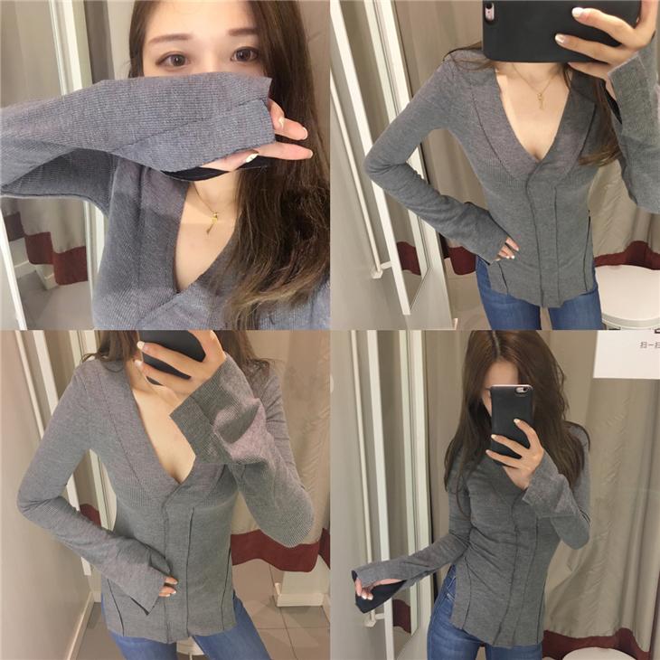 包邮!THE XIBI韩国风CHIC一个显身材的长袖T