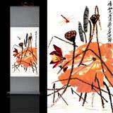 黄荷花图丝绸画卷轴礼品挂画凤凰丹凤朝阳花鸟画装饰客厅玄关壁画