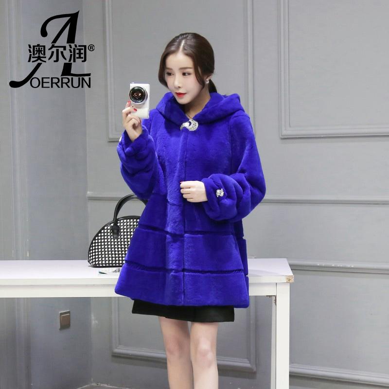 2016新款獭兔毛中长款皮草外套 女装特价修身连帽皮草外套