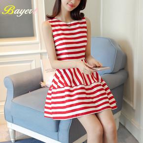 韩版夏季新款女装气质甜美条纹小清新无袖连衣裙修身收腰背心短裙