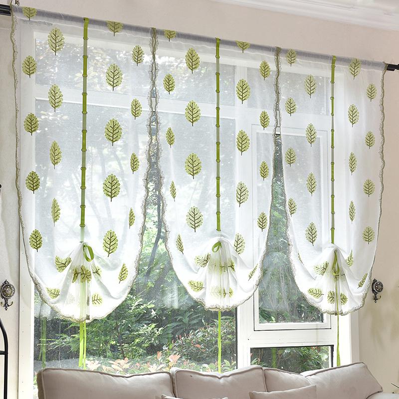 欧式客厅窗帘田园绣花罗马帘沙帘扇形提拉帘穿杆升降