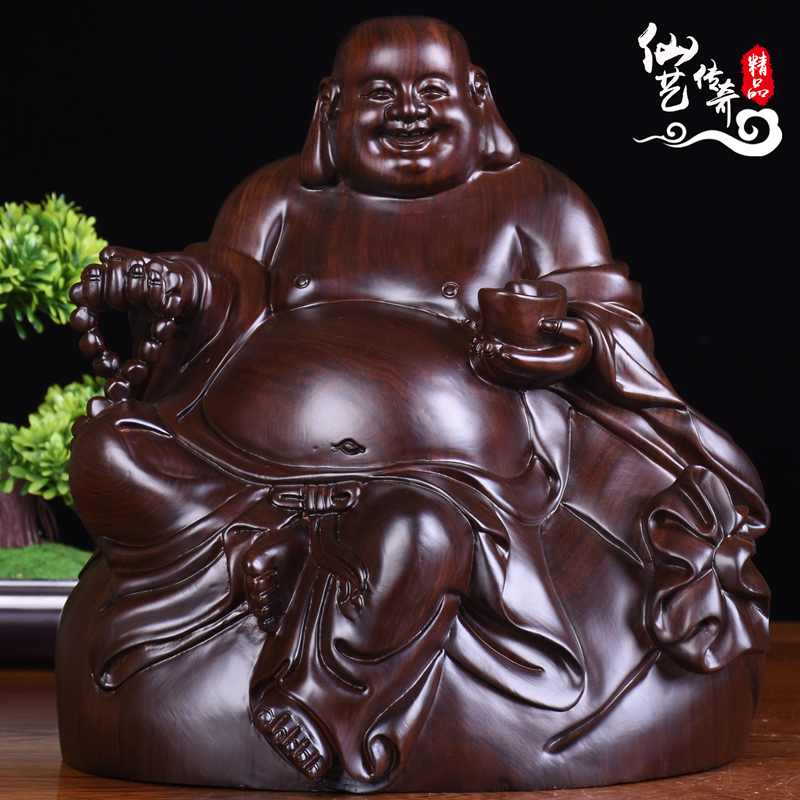 黑檀木雕弥勒佛像摆件大号元宝坐笑佛实木雕刻家居品