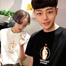 潮学生小清新情侣t恤夏 韩版 创意印花青少年t恤男短袖 港仔文艺个性