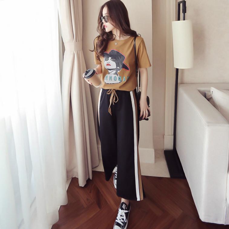 女装休闲时尚学生两件套运动套装阔腿裤 印花春夏韩版短袖