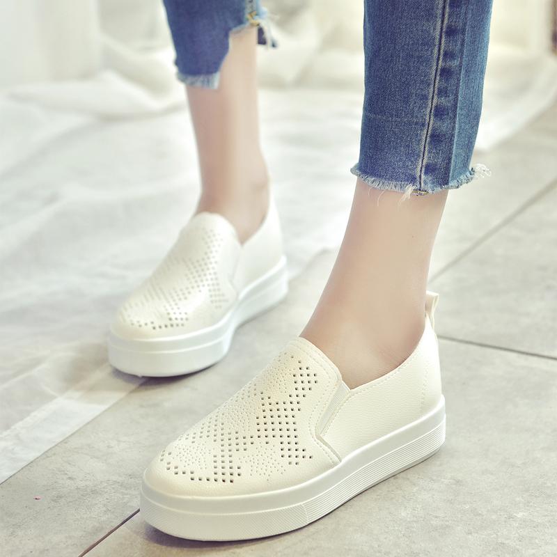 平底学生小白鞋百搭单鞋懒人韩版春女鞋夏季休闲洞洞
