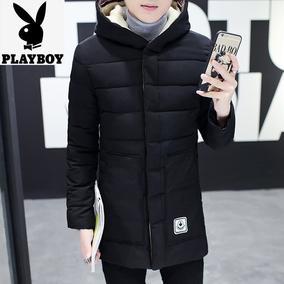 花花公子男冬季棉衣中长款连帽加厚青年外套时尚棉袄大码羽绒棉服