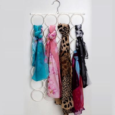 可折叠丝巾架衣架多功能彩色藤编围巾架28环多层圈圈腰带皮带挂架