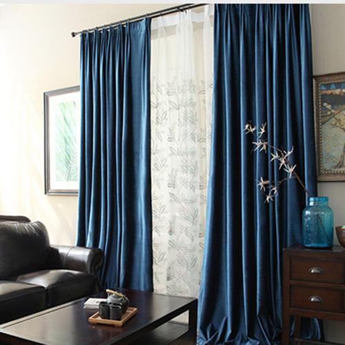 紫色湖蓝藏蓝酒红浅咖啡纯色窗帘卧室全遮光厚窗帘室