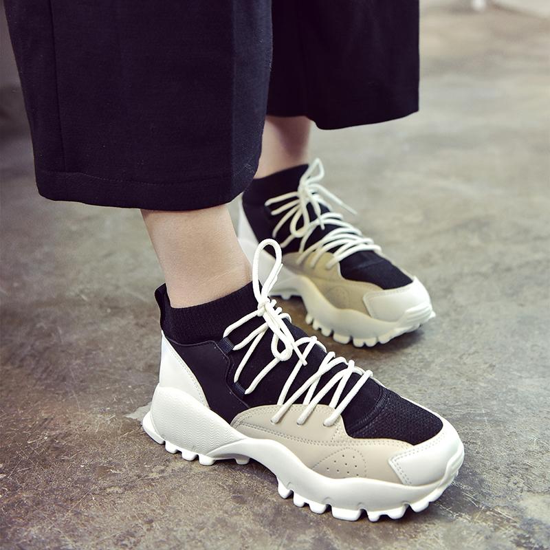 连体韩国日系忍者鞋运动鞋春季休闲鞋跑鞋袜筒