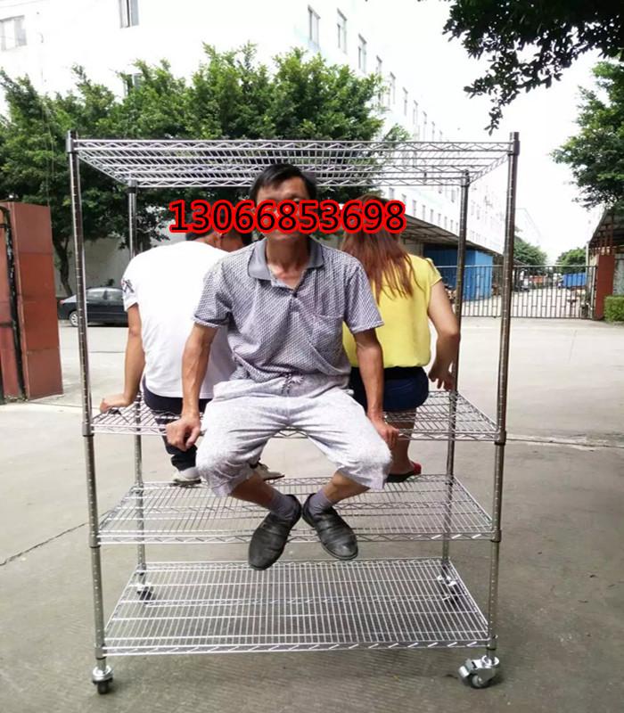 镀铬线网货架不锈钢带轮子深圳周转展示家用碳钢物料置物架铁推车