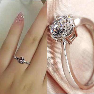 S925纯银戒指女款结婚日韩女式求婚仿真钻戒渡白金银饰品活口开口