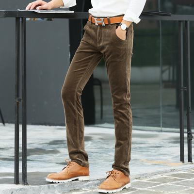 秋季新款男士弹力灯芯绒休闲裤英伦条绒长裤直筒裤弹力小脚灯芯绒