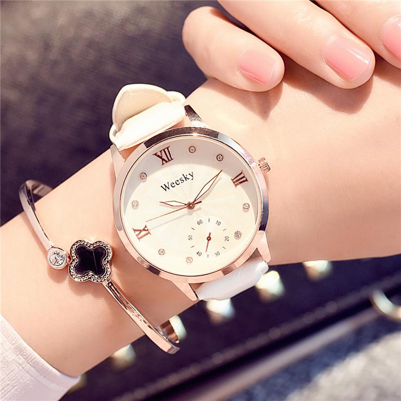 简约潮流时尚防水夜光女学生欧美白色个性大气手表休闲