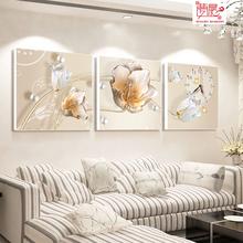 梦晨装饰画客厅三联无框画挂钟卧室沙发背景墙画水晶玻璃挂画包邮