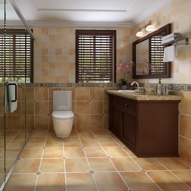 地中海瓷砖 卫生间瓷砖防滑地砖欧式洗手间墙砖厕所阳台仿古砖300图片