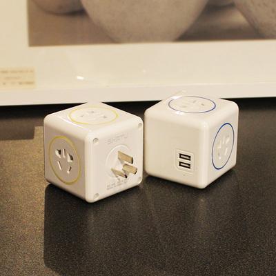 创意 魔方插座无线带USB转换器多功能立式电源插排智能多用接线板