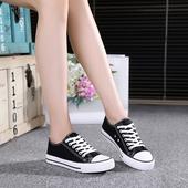 2017夏季新款帆布鞋女 韩版潮平跟布鞋学生球鞋百搭系带小白鞋女