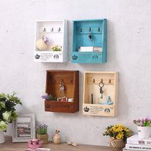 饰品 木质复古钥匙箱壁挂式收纳盒墙饰壁饰 客厅创意置物架墙上装