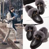 冬季保暖棉鞋女韩版平底真皮毛毛平跟兔毛豆豆鞋加绒单鞋棉瓢鞋潮