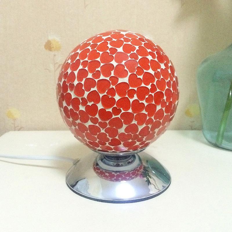 圆球心形图案玻璃工艺品马赛克台灯时尚家居卧室装饰灯夜灯送光