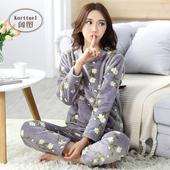 甜美大码 家居服套装 春秋法兰绒长袖 睡衣女冬季加厚珊瑚绒可爱韩版