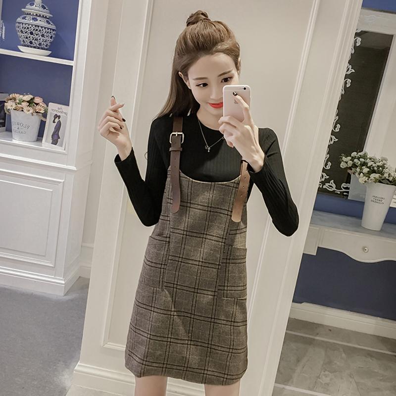 韩版春秋冬季小香风毛呢背带连衣裙针织衫毛衣两件套装裙女时尚潮