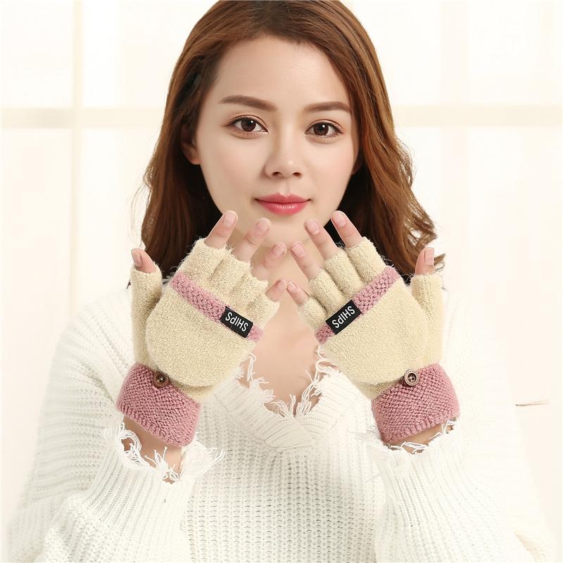 半指女士兔羊毛秋冬天打字保暖韩版可爱翻盖手套露指加厚 2017