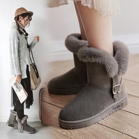 妙钻2017韩版新款中筒雪地靴女学生加绒毛毛鞋冬季短靴保暖棉鞋子