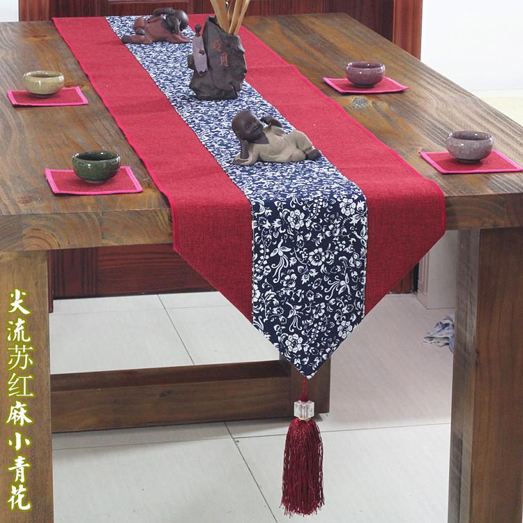 居家布艺餐桌旗布 欧式三角流苏棉麻茶席现代中式 茶几桌巾搭布条