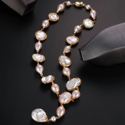 黛韵巴洛克设计师款大珍珠长款项链毛衣链项链18K注金镶嵌