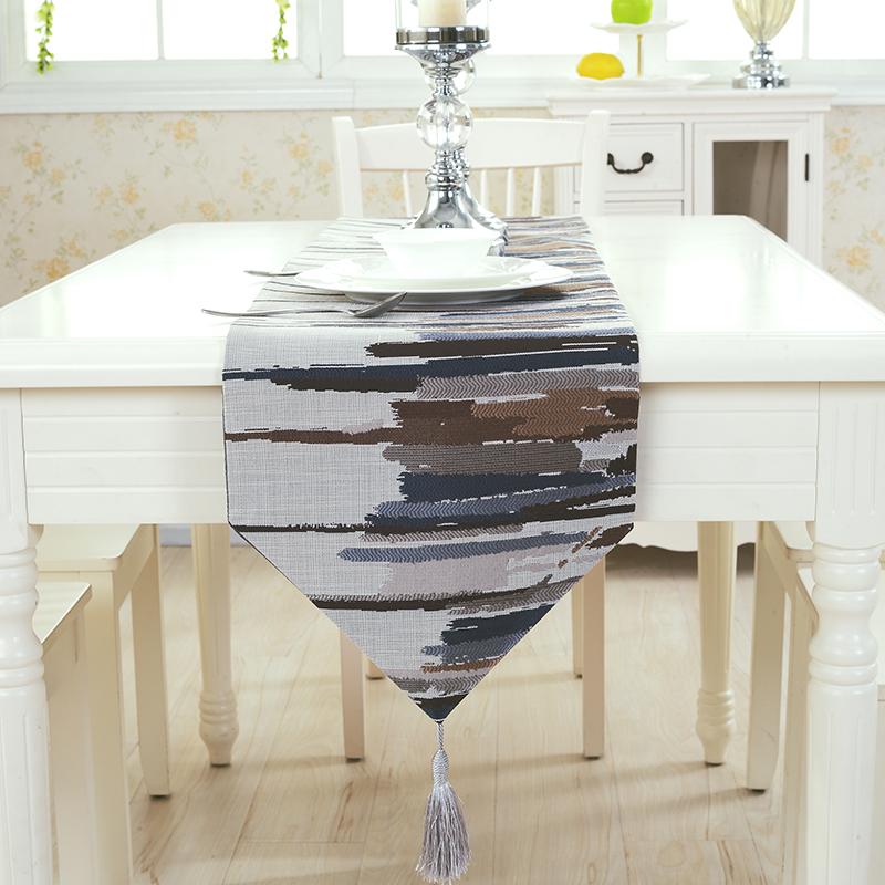 北欧刺绣桌旗桌布装饰长条蓝灰色餐桌茶几旗床旗电视机柜子盖布巾