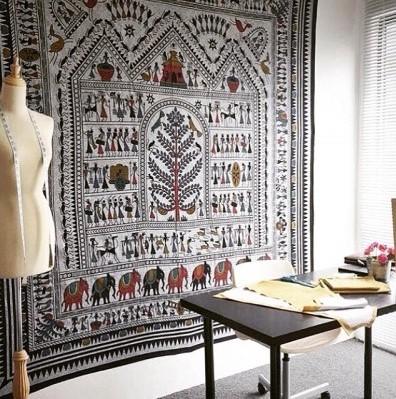 凡薇 东南亚非洲小象挂布挂毯壁毯背景墙沙发巾桌布瑜伽沙滩巾