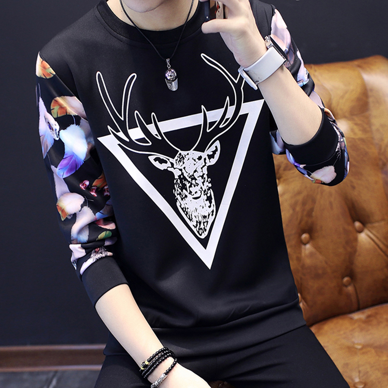 恤男秋冬季韩版圆领修身卫衣青年潮流上衣男装打底小衫体恤 T 长袖