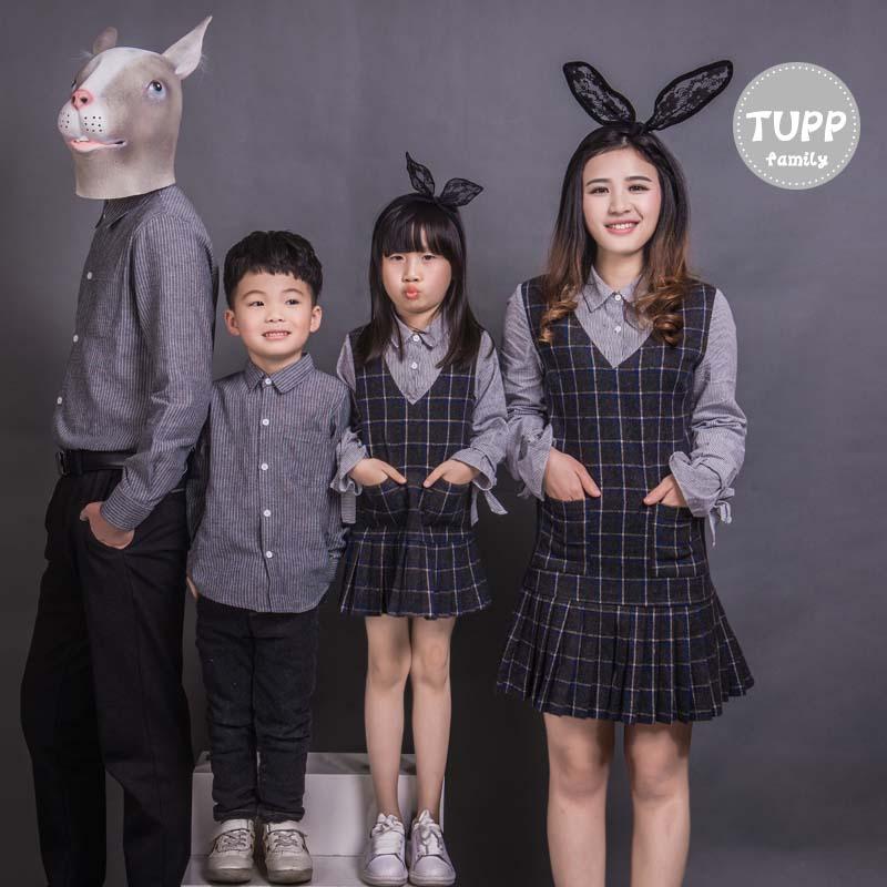 春季家庭三口男母子连衣裙亲子潮全一时尚女童长袖套装