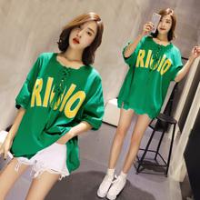 做旧圆领卫衣女短袖宽松中长款2017夏季新款韩版不规则字母蝙蝠袖