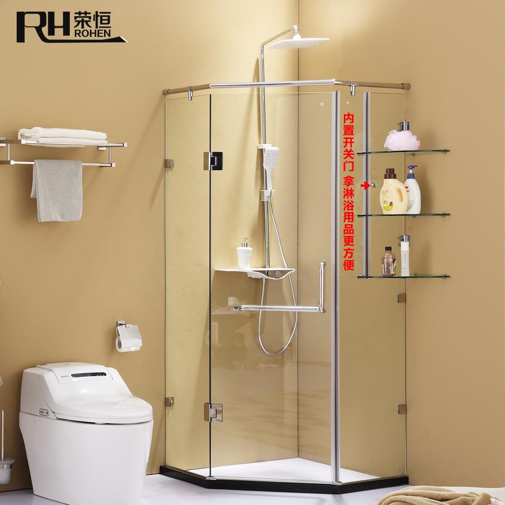 荣恒卫浴不锈钢淋浴房 钻石型淋浴房钢化玻璃整体浴室沐浴房隔断