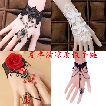 包邮蕾丝手链戒指一体链手镯新娘