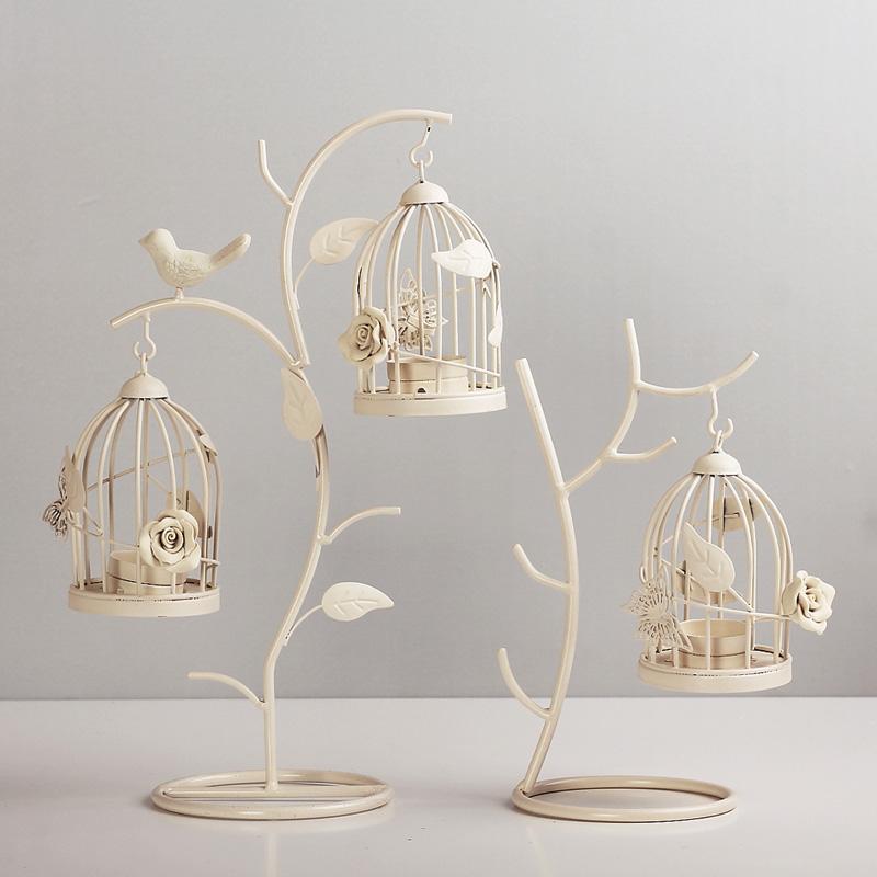 烛台摆件欧式树枝鸟笼烛台蜡烛烛台家居装饰品铁艺
