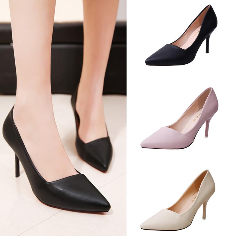 女鞋单鞋黑色工作尖头高跟鞋性感春季女士皮鞋