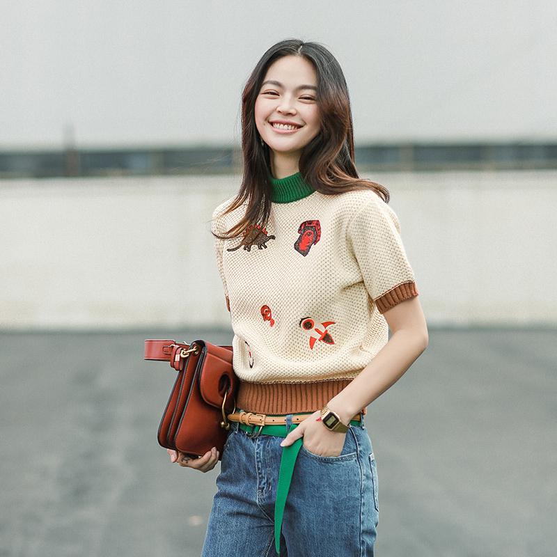 套头春季打底女装刺绣针织毛衣短袖上衣
