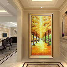 有框壁画 饰画竖版 立体手绘油画家居玄关走廊挂画现代装 黄金大道