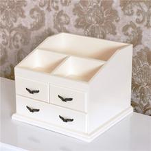 化妆品收纳盒大号梳妆盒木质桌面整理储物箱欧式梳妆抽屉柜免组装