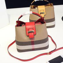 格纹手拎女包单肩斜跨水桶包包潮 帆布手提包经典 欧美时尚 2016新款