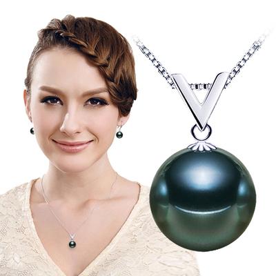 天然珍珠吊坠 925银 正圆形强光无暇南洋贝珠黑白金925银项链包邮