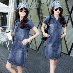 2017夏装新款韩版宽松时尚显瘦短袖牛仔连衣裙女气质中长款一步裙