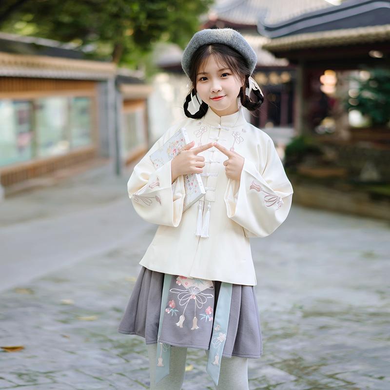 鹿韵记原创设计改良汉服女装穗子绣花立领上衣短裙套装冬中国风