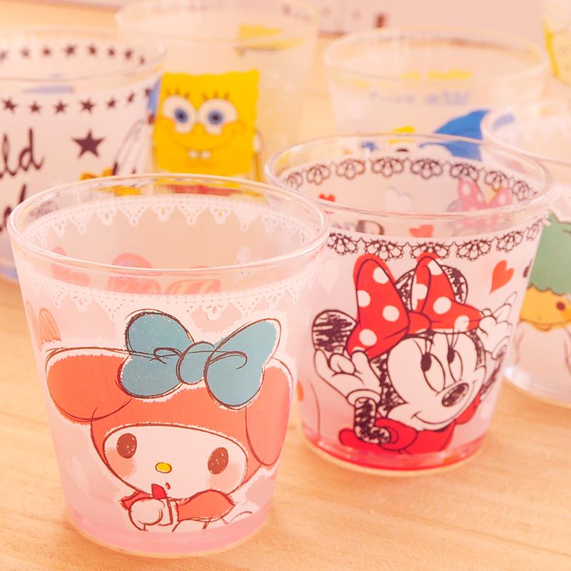 卡通可爱高清彩色水彩涂鸦高档果汁茶水杯子玻璃杯酒杯家用